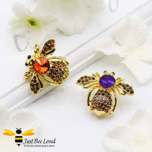 Glamorous Gold Plated Crystal Bee Brooch Bee Trendy Fashion Jewellery