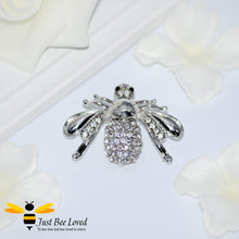 Load image into Gallery viewer, Exquisite Rhinestone Bee Brooch in Silver and Rose Gold Colour Bee Trendy Fashion Jewellery