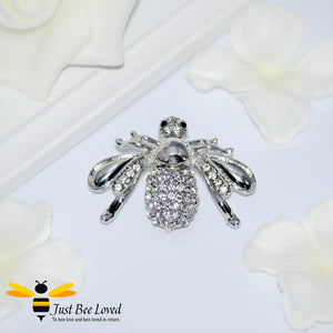 Exquisite Rhinestone Bee Brooch in Silver and Rose Gold Colour Bee Trendy Fashion Jewellery