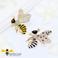 Load image into Gallery viewer, 18K Gold Plated Rhinestone Honey Bee Brooch Bee Trendy Fashion Jewellery