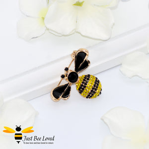 Black Zircon Rhinestone Enamel Bee Pin Brooch Bee Trendy Fashion Jewellery