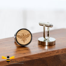 Load image into Gallery viewer, Handmade Wood Engraved Bee Cufflink Gifts For Men