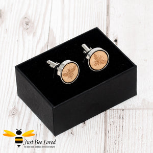 Handmade Wood Engraved Bee Cufflink Gifts For Men