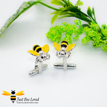 Load image into Gallery viewer, Novelty Bee Cuff Links in Silver colour with black and yellow colours Gifts For Men