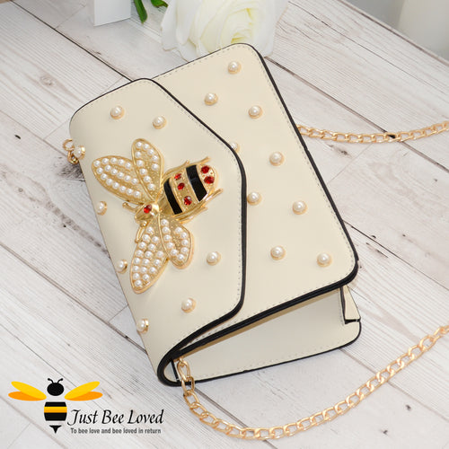 Just Bee Loved Luxury Large Rhinestone Bee Embellishment and Pearl studs PU Leather Handbag with gold chain strap in cream colour