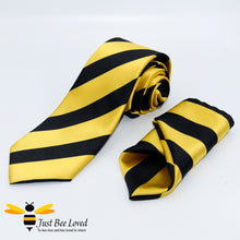 Load image into Gallery viewer, Men's pure silk black and yellow diagonal striped tie and handkerchief set, bee inspired