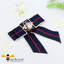 Load image into Gallery viewer, Ladies Navy Ribbon Crystal and Pearl Bee Bow Tie