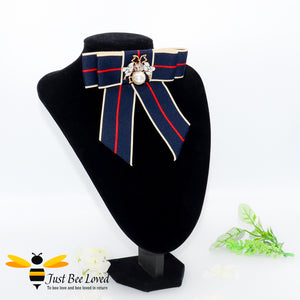 Ladies Navy Ribbon Crystal and Pearl Bee Bow Tie