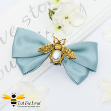 Load image into Gallery viewer, Handmade vintage hair bow clip with gold and pearl bees in navy, green and pink