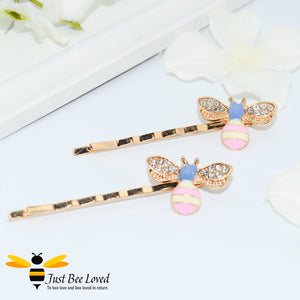 Pair of Rhinestone enamelled Bee Hair Pin Grips in black and yellow and pink and blue