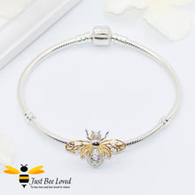 Load image into Gallery viewer, Sterling Silver 925 snake charm bracelet with sterling silver bee charm inlaid with white zircon  and gold plated wings