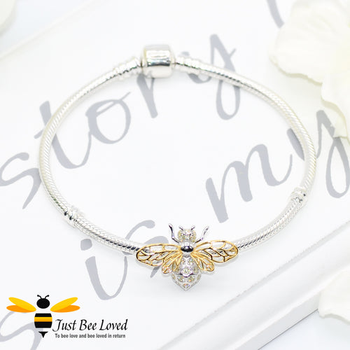Sterling Silver 925 snake charm bracelet with sterling silver bee charm inlaid with white zircon  and gold plated wings
