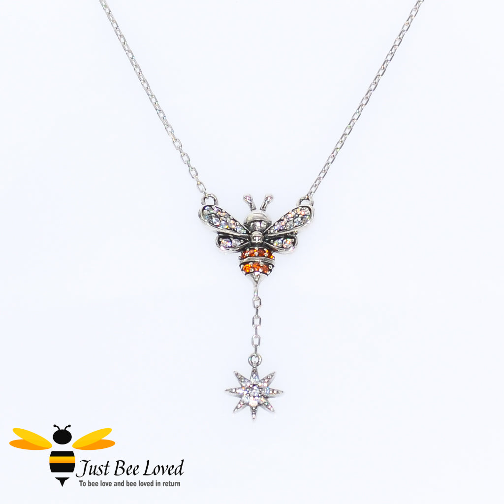 Sterling Silver 925 Star & Bee Pendant Necklace