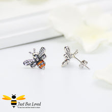 Load image into Gallery viewer, Sterling silver 925 bee stud earrings with orange and white cubic zircon crystals