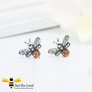 Sterling silver 925 bee stud earrings with orange and white cubic zircon crystals