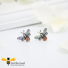 Load image into Gallery viewer, Sterling Silver 925 Bee & Star 3-piece Jewellery Set featuring matching necklace, ring and stud earrings