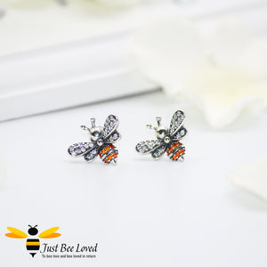 Sterling Silver 925 Bee & Star 3-piece Jewellery Set featuring matching necklace, ring and stud earrings