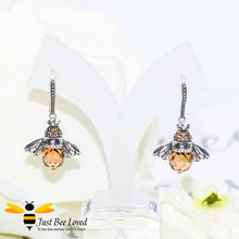 Load image into Gallery viewer, Sterling Silver 925 Queen Honey Bee Drop Earrings