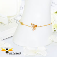 Load image into Gallery viewer, Sterling silver 925 1 carat Oval Citrine Bee Bracelet with peridot honeycomb 14k gold plated
