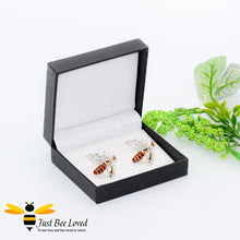 Load image into Gallery viewer, White Rhinestone Crystals Silver Bee Cufflinks Gifts For Men