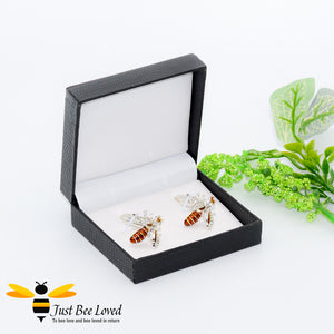 White Rhinestone Crystals Silver Bee Cufflinks Gifts For Men