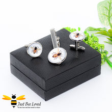 Load image into Gallery viewer, Glass Honey Bee Tie Clip & Cufflinks Set Gifts For Men