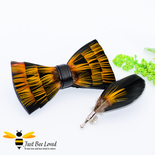 Natural Feathers Bow Tie & Lapel Set with orange feather on faux Black PU leather bow tie Bee Inspired Clothing Accessories Gifts For Men