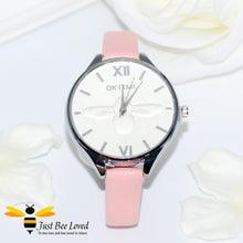 Load image into Gallery viewer, Ladies Leather Bee Wrist Watch Pink Leather