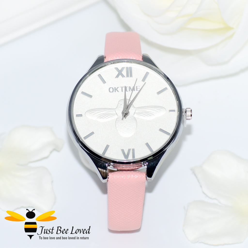 Ladies Leather Bee Wrist Watch Pink Leather