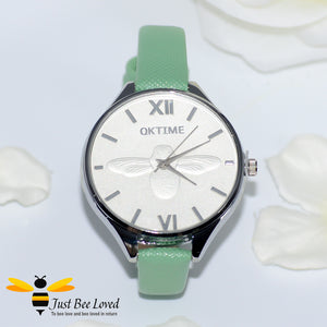 Ladies Leather Bee Wrist Watch Green Leather