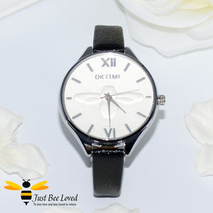 Ladies Leather Bee Wrist Watch Black Leather
