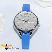 Load image into Gallery viewer, Ladies Leather Bee Wrist Watch Blue Leather
