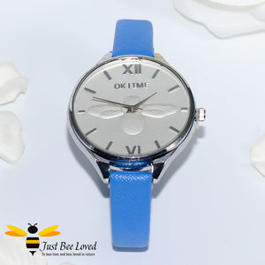 Ladies Leather Bee Wrist Watch Blue Leather