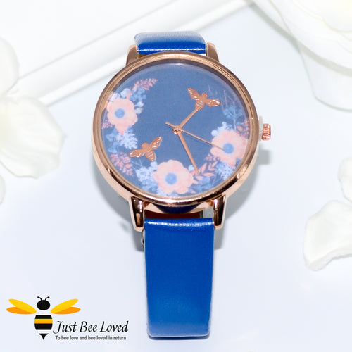Bee & Flowers Ladies PU Leather Wrist Watch in 4 Colours