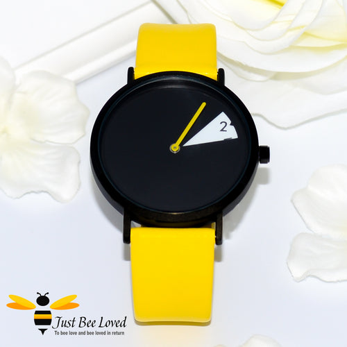 SINOBI Liberty Futuristic Ladies Leather Wrist Watch with Yellow band and Black watch face
