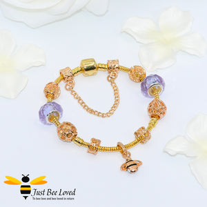Bee & Murano Bead Charm Bracelet - 4 Colours Bee Trendy Fashion Jewellery