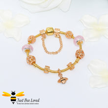 Load image into Gallery viewer, Bee & Murano Bead Charm Bracelet - 4 Colours Bee Trendy Fashion Jewellery