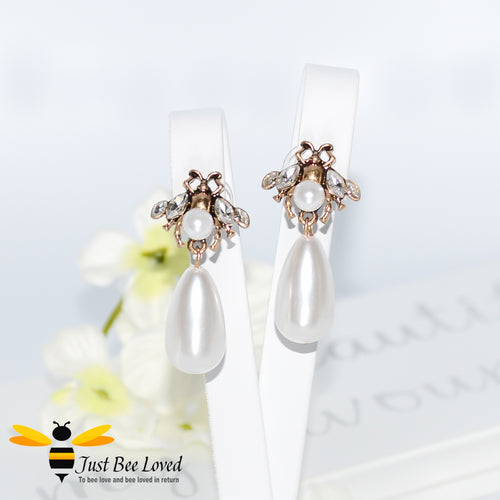 Vintage Pearl Teardrop Bee Earrings Trendy Fashion Jewellery