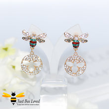 Load image into Gallery viewer, Sparkling Crystal Bee Drop Earrings Bee Trendy Fashion Jewellery