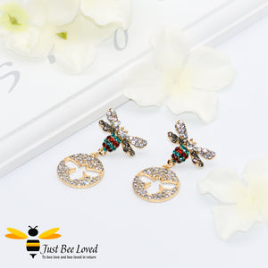 Sparkling Crystal Bee Drop Earrings Bee Trendy Fashion Jewellery