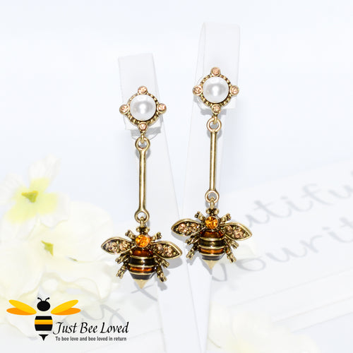 Handmade Rhinestone & Pearl Bee Dangle Earrings Fashion Jewellery