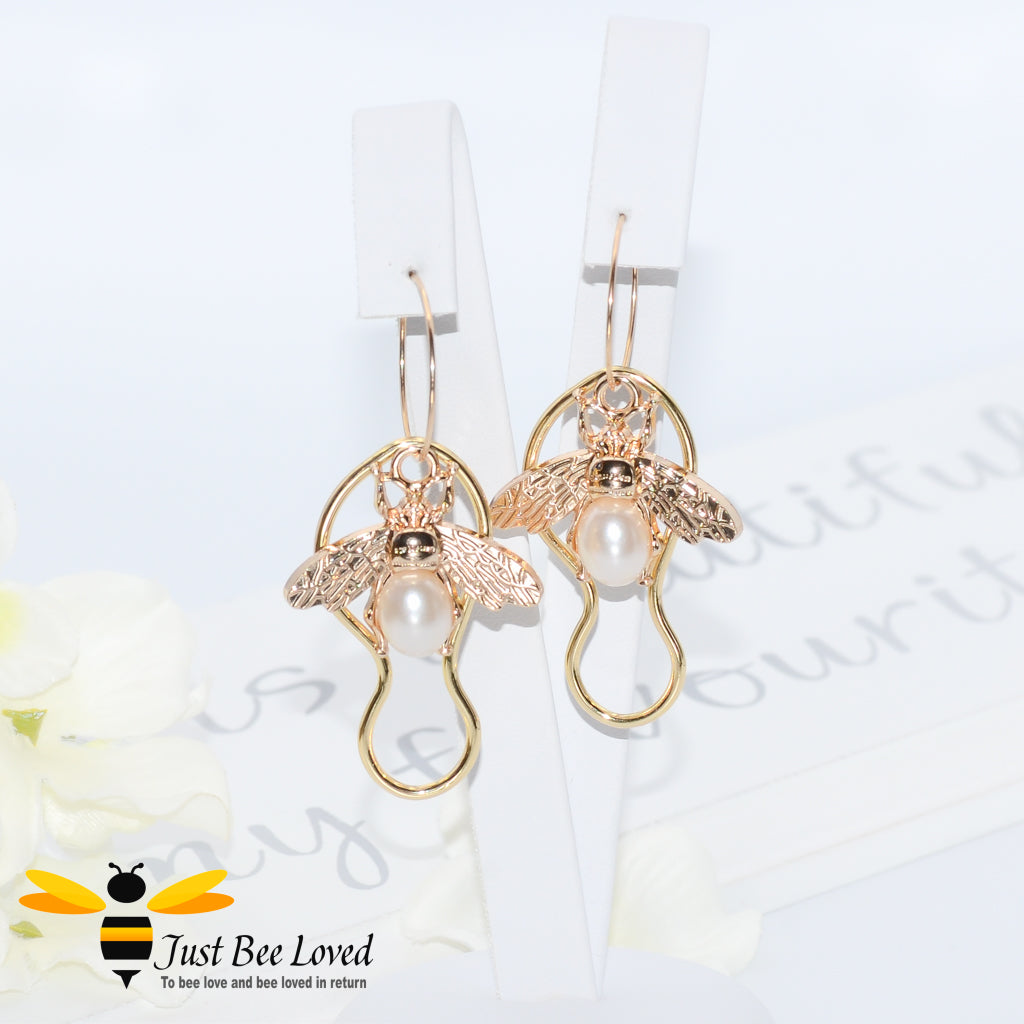 Handmade Bee & Faux Pearl Drop Earrings Bee Trendy Fashion Jewellery