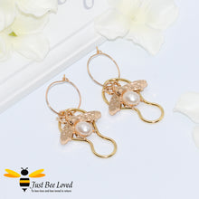 Load image into Gallery viewer, Handmade Bee & Faux Pearl Drop Earrings Bee Trendy Fashion Jewellery
