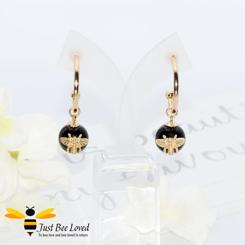 Black Stone Ball & Bee Hoop Earrings Bee Trendy Fashion Jewellery