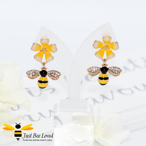 Daisy & Bee Cubic Zirconia Drop Earrings Bee Trendy Fashion Jewellery