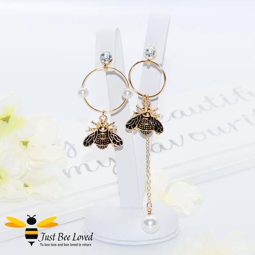 Asymmetrical Bee & Pearls Drop Earrings Bee Trendy Fashion Jewellery