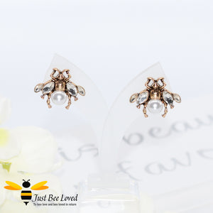Vintage Crystal Bee Faux Pearl Stud Earrings Bee Trendy Fashion Jewellery