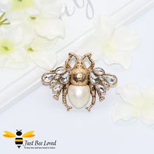 Load image into Gallery viewer, Crystals & Pearl Bee Double Finger Statement Ring Bee Trendy Fashion Jewellery