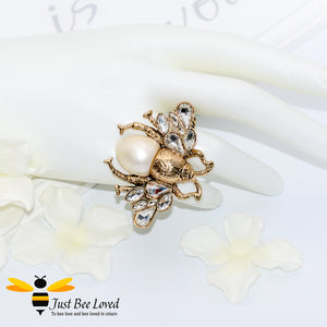 Crystals & Pearl Bee Double Finger Statement Ring Bee Trendy Fashion Jewellery