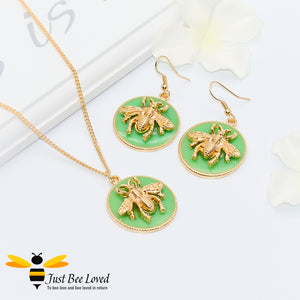 Handmade Glazed Disc Honey Bee Pendant Necklace & Earrings Set Bee Trendy Fashion Jewellery